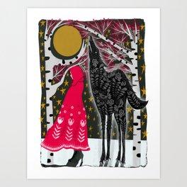 Red Riding Hood Fairy Tale Folk Art Art Print