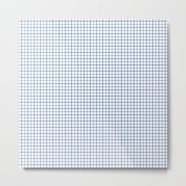 Small Blue & White Large Tattersall Check Pattern Metal Print