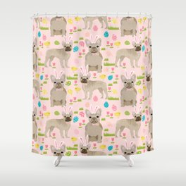 French Bulldog fawn coat easter eggs easter spring themed dog art pet portraits Shower Curtain