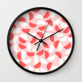 Semi Circles Red and White on Pink Wall Clock