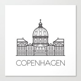 Marble Church Copenhagen Denmark Black and White Canvas Print