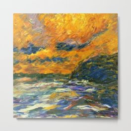 Brilliant Orange-Gold Sunset on the Autumn Sea landscape portrait painting by Emil Nolde Metal Print