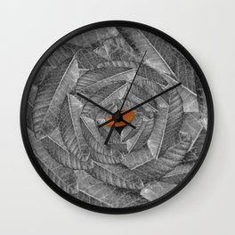 Orange Leaf On Grey And Silver Leaves - Beautiful Background - Autumn mood - #Society6 #buyart Wall Clock