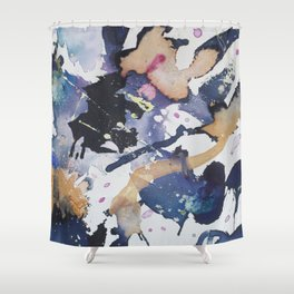 #1 Blue Shower Curtain