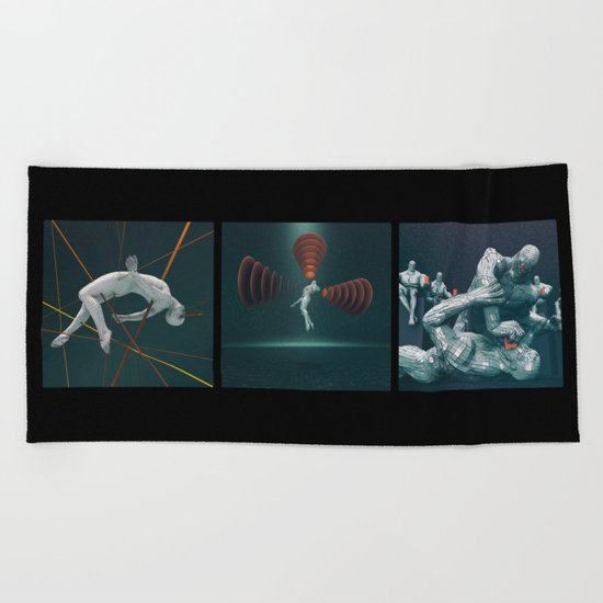 Humans In The Information Age Beach Towel