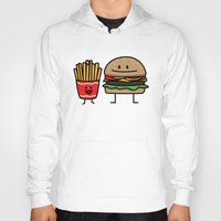 french fries Hoodies featuring Happy Cheeseburger and French Fries by Berenice Limon