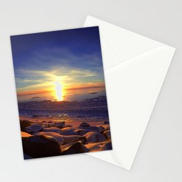 Alaska Sunset with blue skies.  Stationery Cards