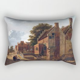 Jean François Valois The Kalvermarkt in The Hague Rectangular Pillow