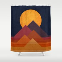 strong Shower Curtains featuring Full moon and pyramid by Picomodi