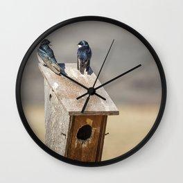 Two Tree Swallows Wall Clock
