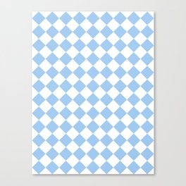 Diamonds - White and Baby Blue Canvas Print