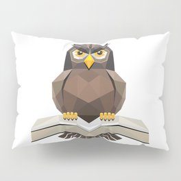 Vector, Brown Owl fly with the book Pillow Sham