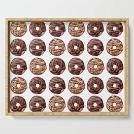 Chocolate Donuts Pattern Serving Tray
