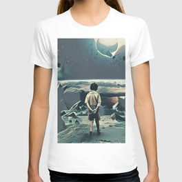 Lonely boy in cosmos T-shirt