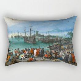 """Jan Brueghel the Elder """"Harbor Scene with St. Paul's Departure from Caesarea"""" Rectangular Pillow"""