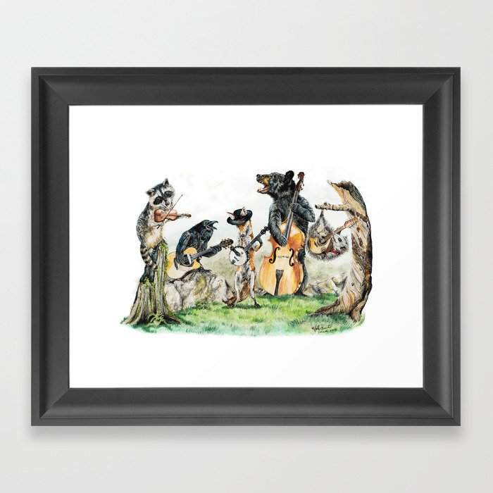 """ Bluegrass Gang "" wild animal music band Gerahmter Kunstdruck"