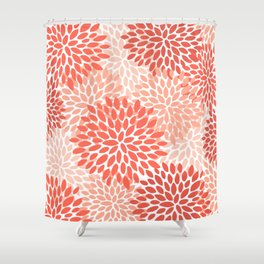 Floral Pattern, Living Coral, Pink Shower Curtain