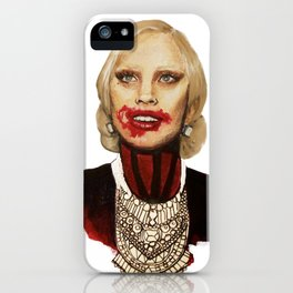 Scary American Lady Singer acting as a Vampire from a Horror Story iPhone Case