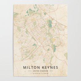 Milton Keynes, United Kingdom - Vintage Map Poster