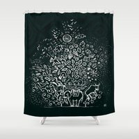 universe Shower Curtains featuring Universe by Pani Grafik