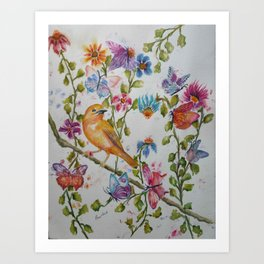 YELLOW BIRD WITH WHIMSICAL FLOWERS AND BUTTERFLIES Art Print
