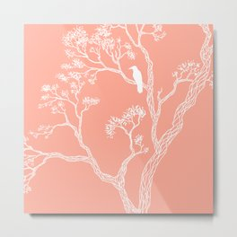 Crow in a tree peach color Metal Print