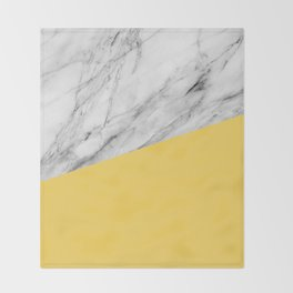 Marble and Primrose Yellow Color Throw Blanket