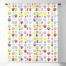 Colorful Paws, Dog Traces, Trails, Animal Paws Blackout Curtain