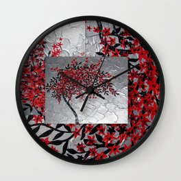 Red and black tree with textured silver background -Modern design Wall Clock