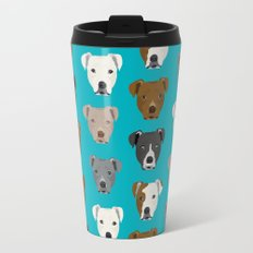 Pitbull faces dog art dog pattern pitbulls cute gifts for rescue dog owners Travel Mug