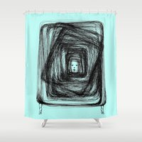 no face Shower Curtains featuring Face by KRNago