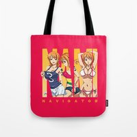 one piece Tote Bags featuring Sexy Nami - One Piece by feimyconcepts05