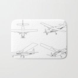 three-dimensional illustration aircraft Bath Mat