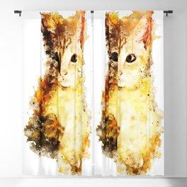 cat 2 paint splash watercolor Blackout Curtain