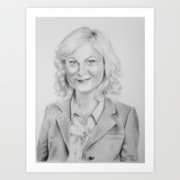 """amy poehler Art Prints featuring """"Leslie Knope"""" from Parks and Recreation Amy Poehler Traditional Pencil Portrait by GabiDrawForMe"""