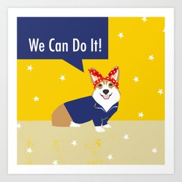 Corgi Rosie - Rosie the riveter, dog, dogs, dog costume, cute dog Art Print