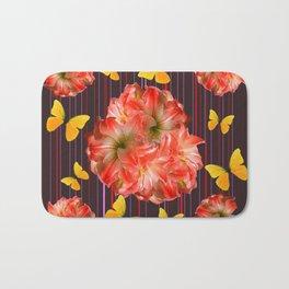 Decorative yellow Butterflies Pink Flowers Puce Bath Mat