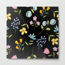 Tiny Flower pattern - BLACK Metal Print