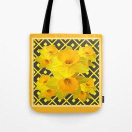 Golden Daffodils Grey Art Design Tote Bag