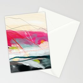 abstract landscape with pink sky over white cloud mountain Stationery Cards