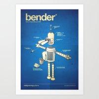 bender Art Prints featuring Bender by Enrique Guillamon