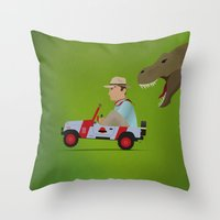 jurassic park Throw Pillows featuring Jurassic Park by DWatson