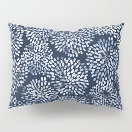 Abstract Navy Watercolor Line Flowers Pillow Sham
