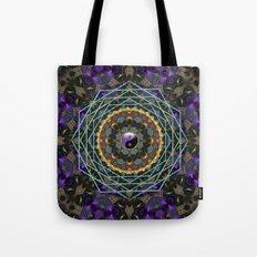 Purple Yin Yang Sacred Geometry Fractals Tote Bag
