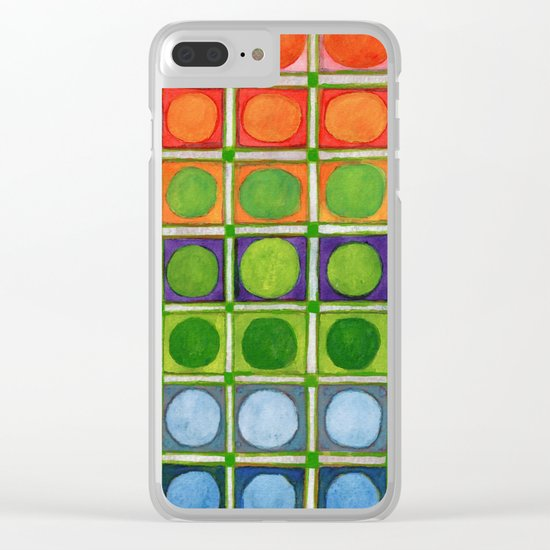 Beautiful Rainbow Colored Circles in a Grid Clear iPhone Case
