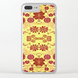 Red Retro Floral Clear iPhone Case