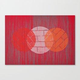 THREE BRICKS ON SPLINTERED WOOD  Canvas Print