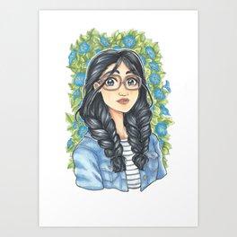Denim & Blue Florals Art Print