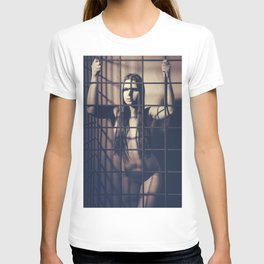 Woman naked in a iron cage T-shirt