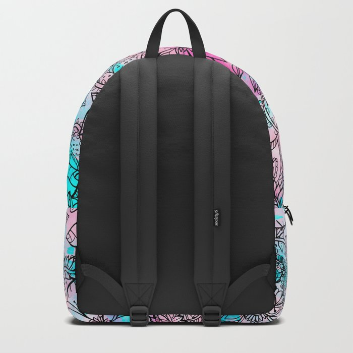 Modern pink turquoise floral watercolor handdrawn pattern Backpack